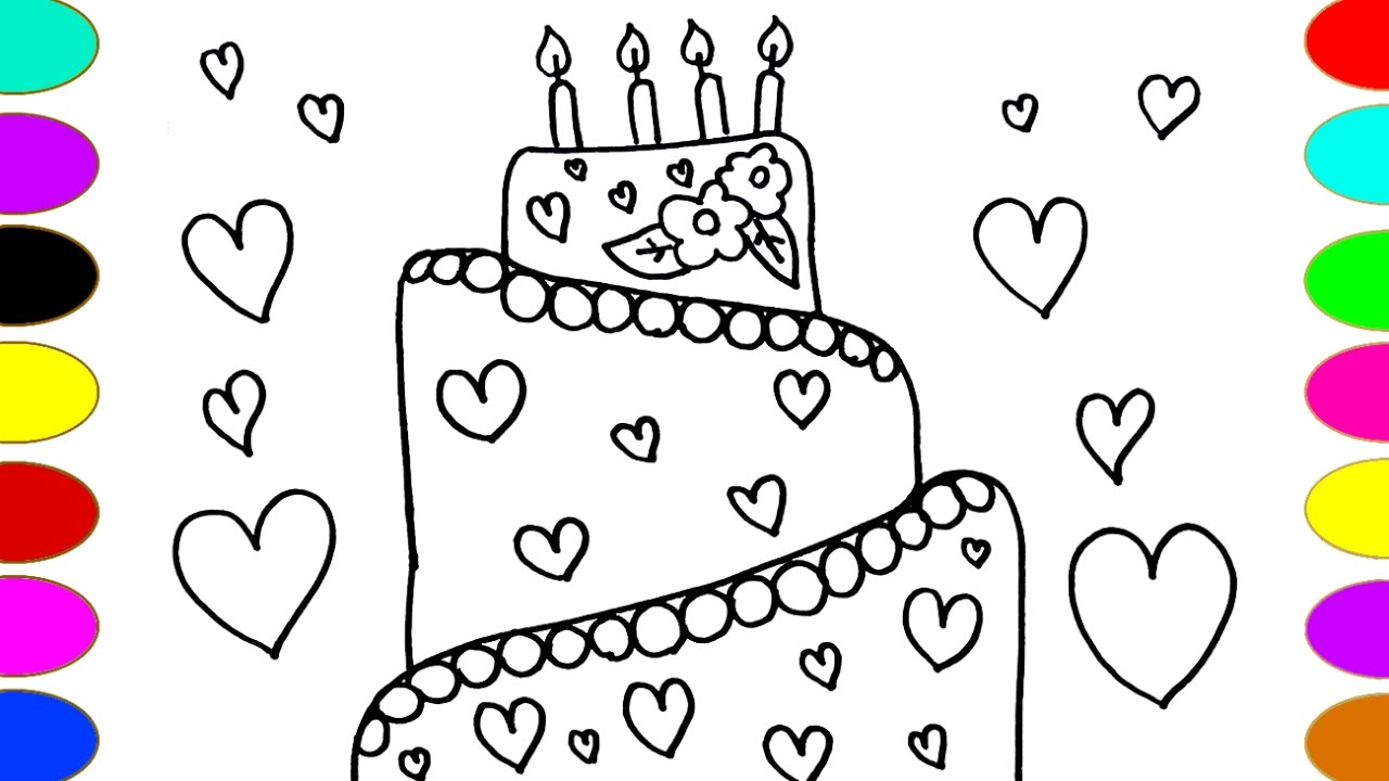 1280x720 Cute Heart Cake Drawing And Painting Watercolor Coloring Pages