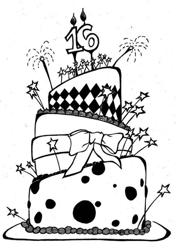 580x815 Birthday Cake Clipart Black And White No Candles Fresh Happy