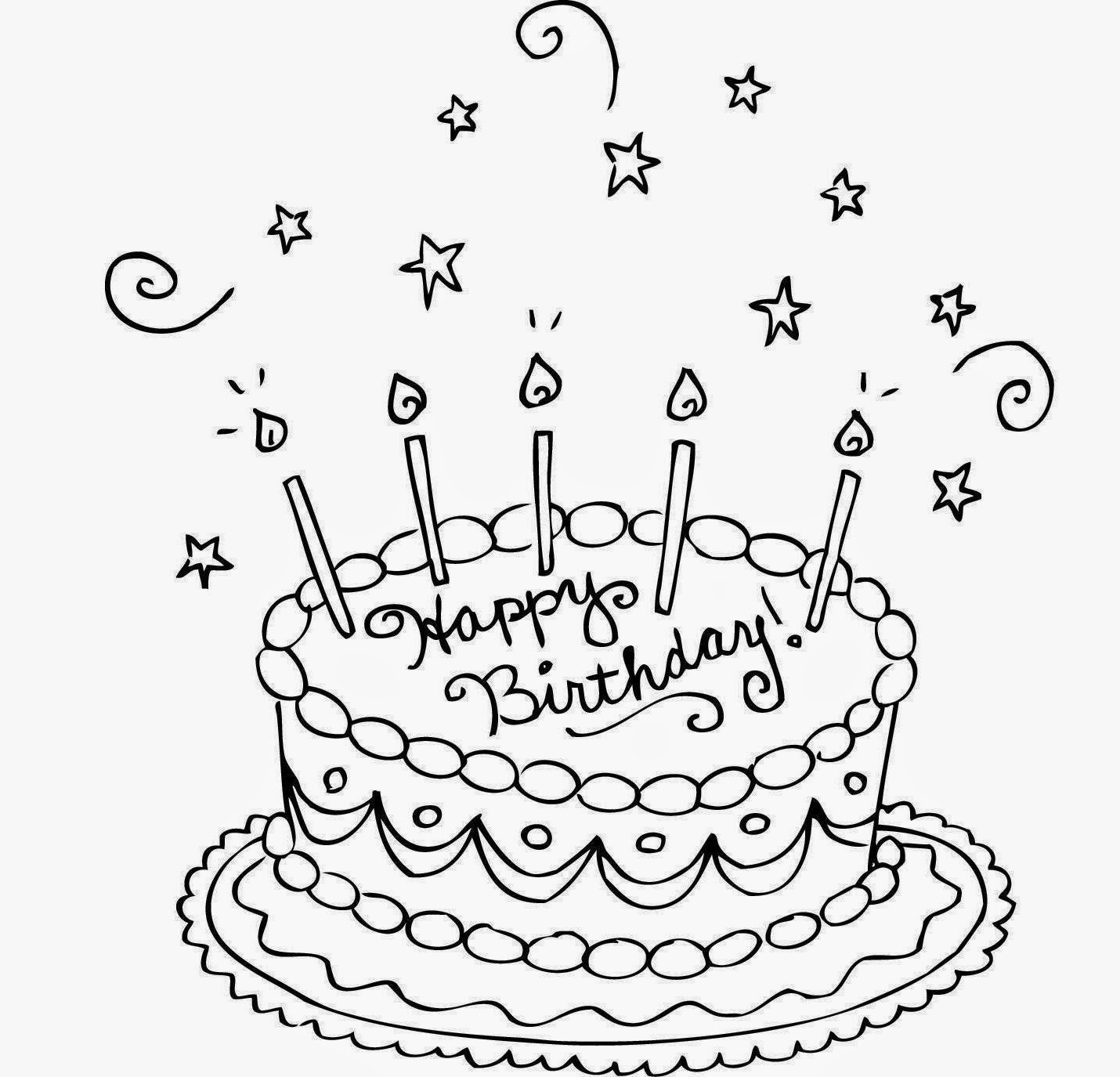 1430x1375 Birthday Cake Drawing Coloring Page 2019