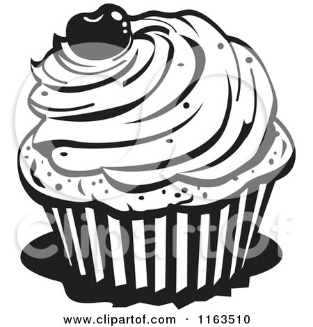 450x470 Clipart Of A Black And White Cupcake With A Cherry On Top