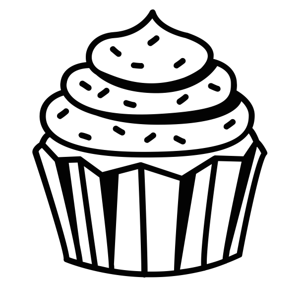 611x572 Collection Of Black And White Cupcake Drawing High Quality