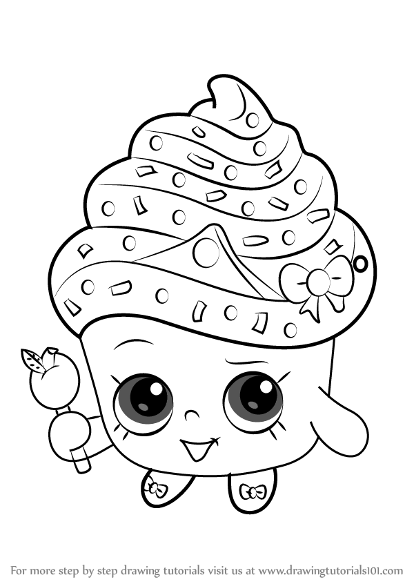 600x846 Learn How To Draw Cupcake Queen From Shopkins (Shopkins) Step By