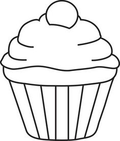 236x278 5 Best Images Of Printable Birthday Cupcake Outlines