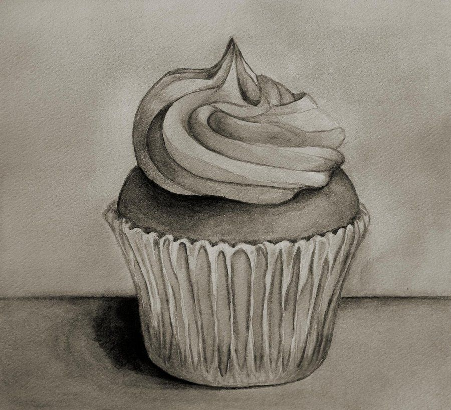 900x817 Cupcake In Black And White By