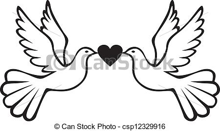 450x269 Pair Of Doves With Heart. Pair Of White Doves Holding Heart.