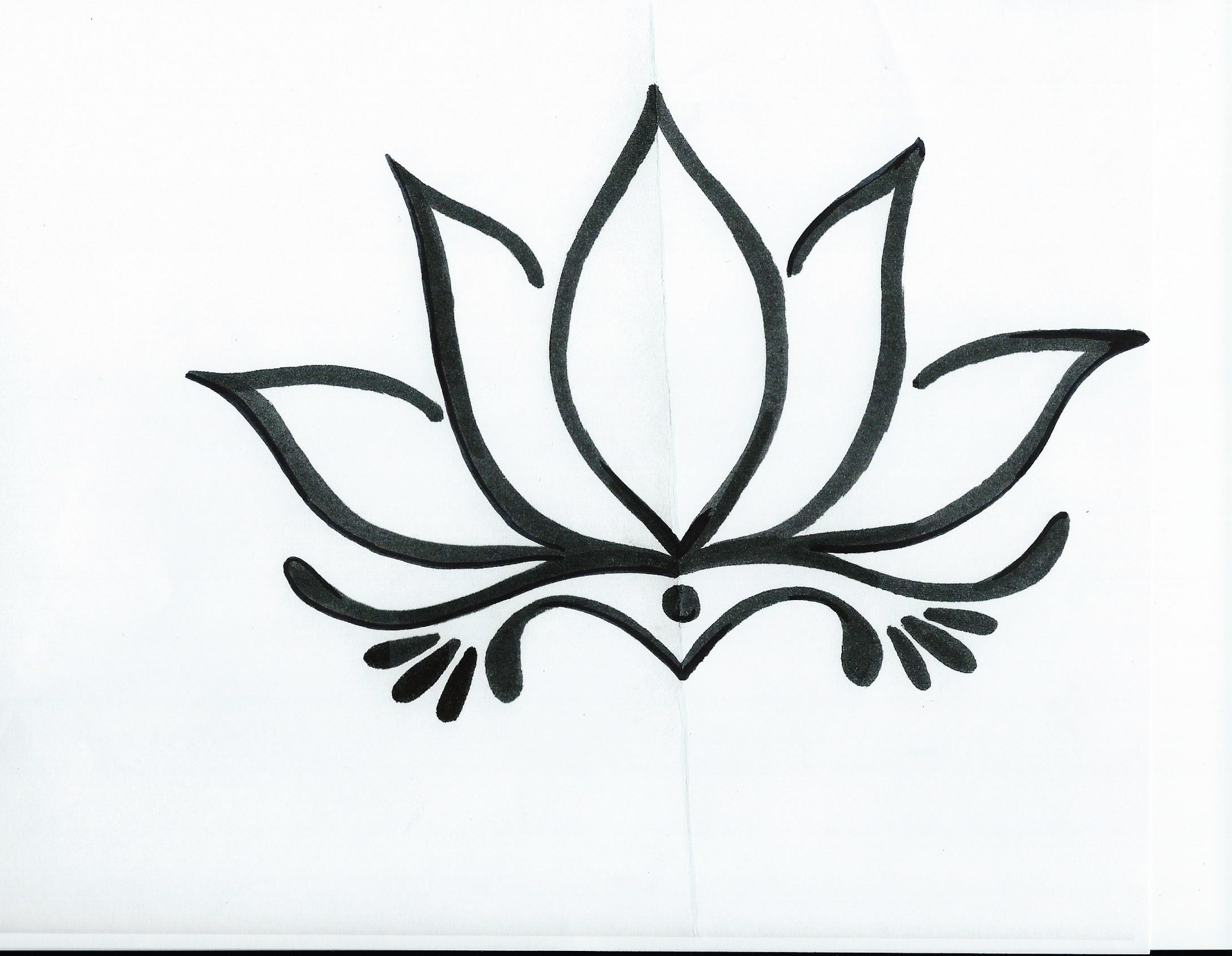 1920x1491 Simple Black And White Drawing Ideas Simple Lotus Flower Drawing