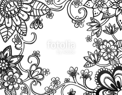 500x391 Adult Coloring Book Page Of Abstract Flower Doodles On Border