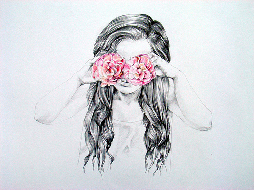 500x375 Art, Black And White, Drawing, Flowers On We Heart It