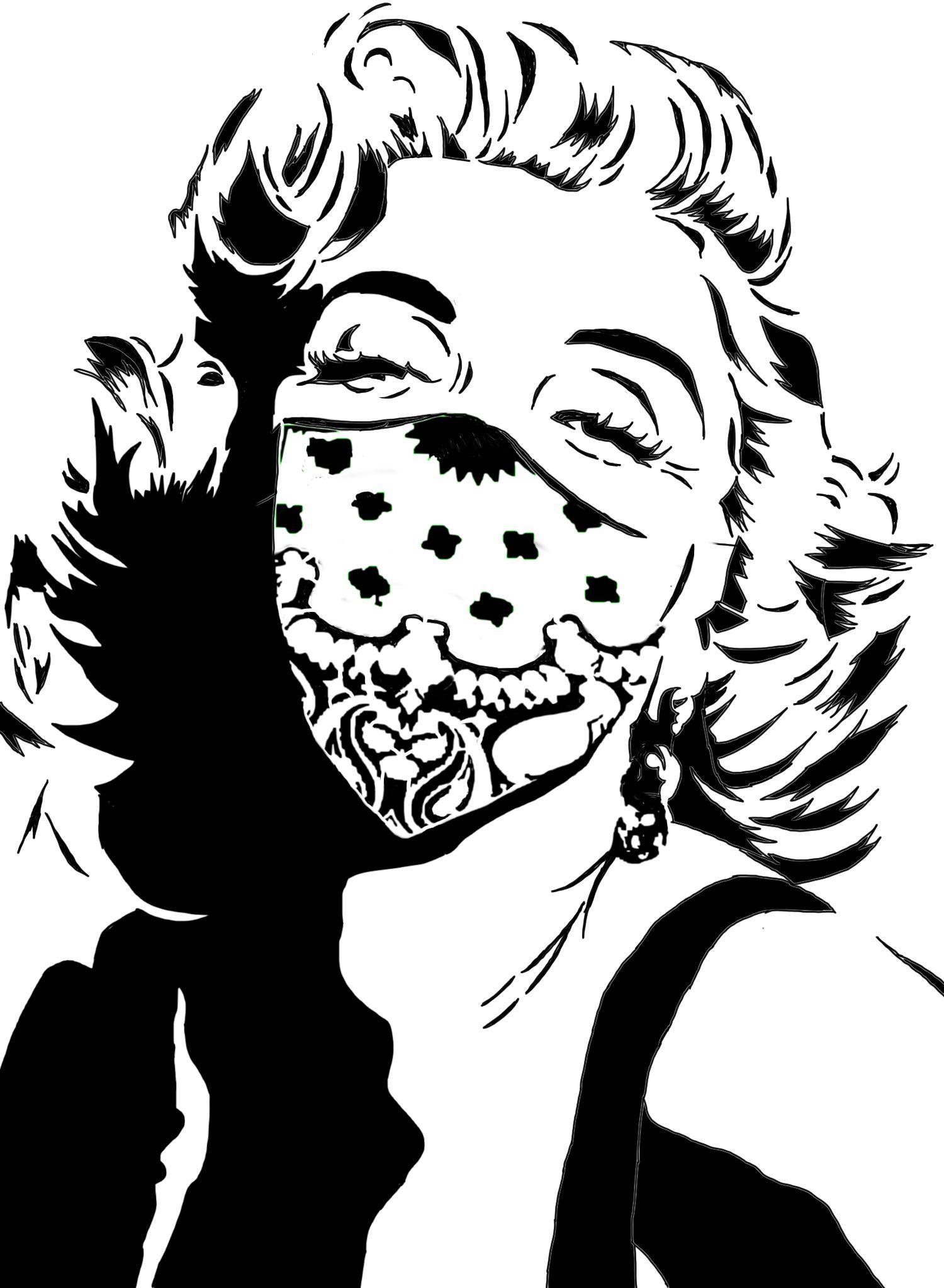 1500x2046 Marilyn Monroe Wearing A Bandana Stencils Bandanas