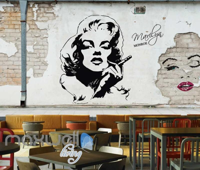 800x682 Black And White Drawing Of Marilyn Monroe On Brick Wall Art Wall