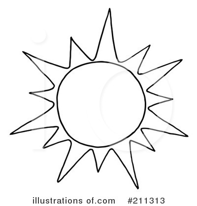 Black And White Drawing Of The Sun