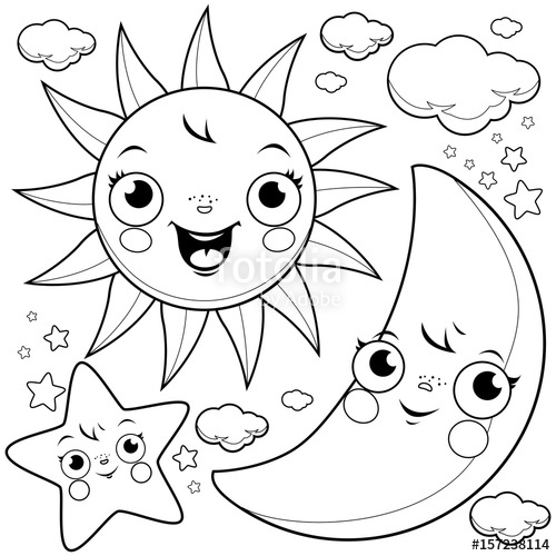 500x500 Cute Sun, Moon, Stars And Clouds. Black And White Coloring Page