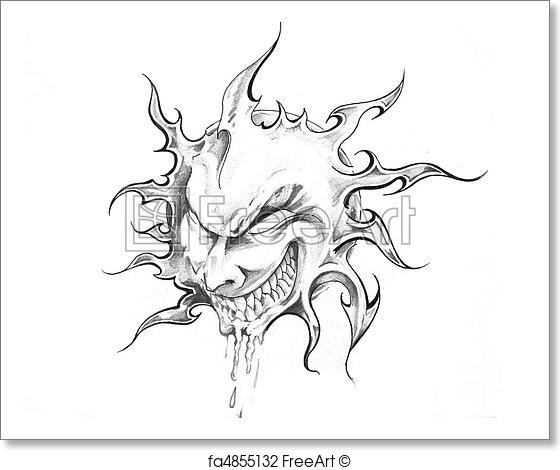 560x470 Free Art Print Of Sketch Of Tattoo Art, Sun With Face Freeart