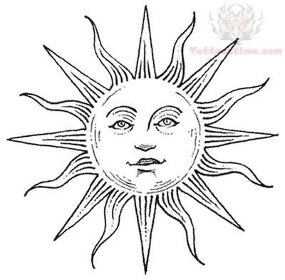 400x393 Hippie Drawings Black White Sun Tattoo Drawing Black