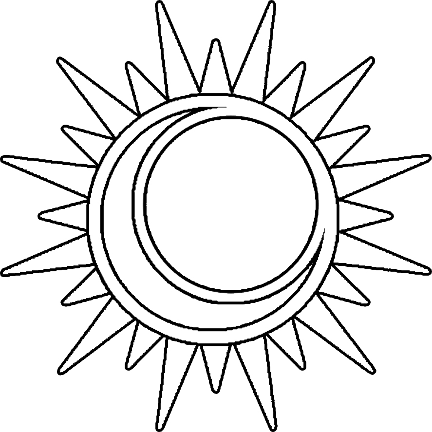 887x887 Sun And Moon Clipart Black And White