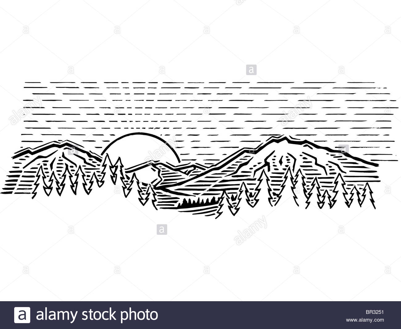 1300x1065 A Black And White Drawing Of The Sun Amidst The Mountains Stock
