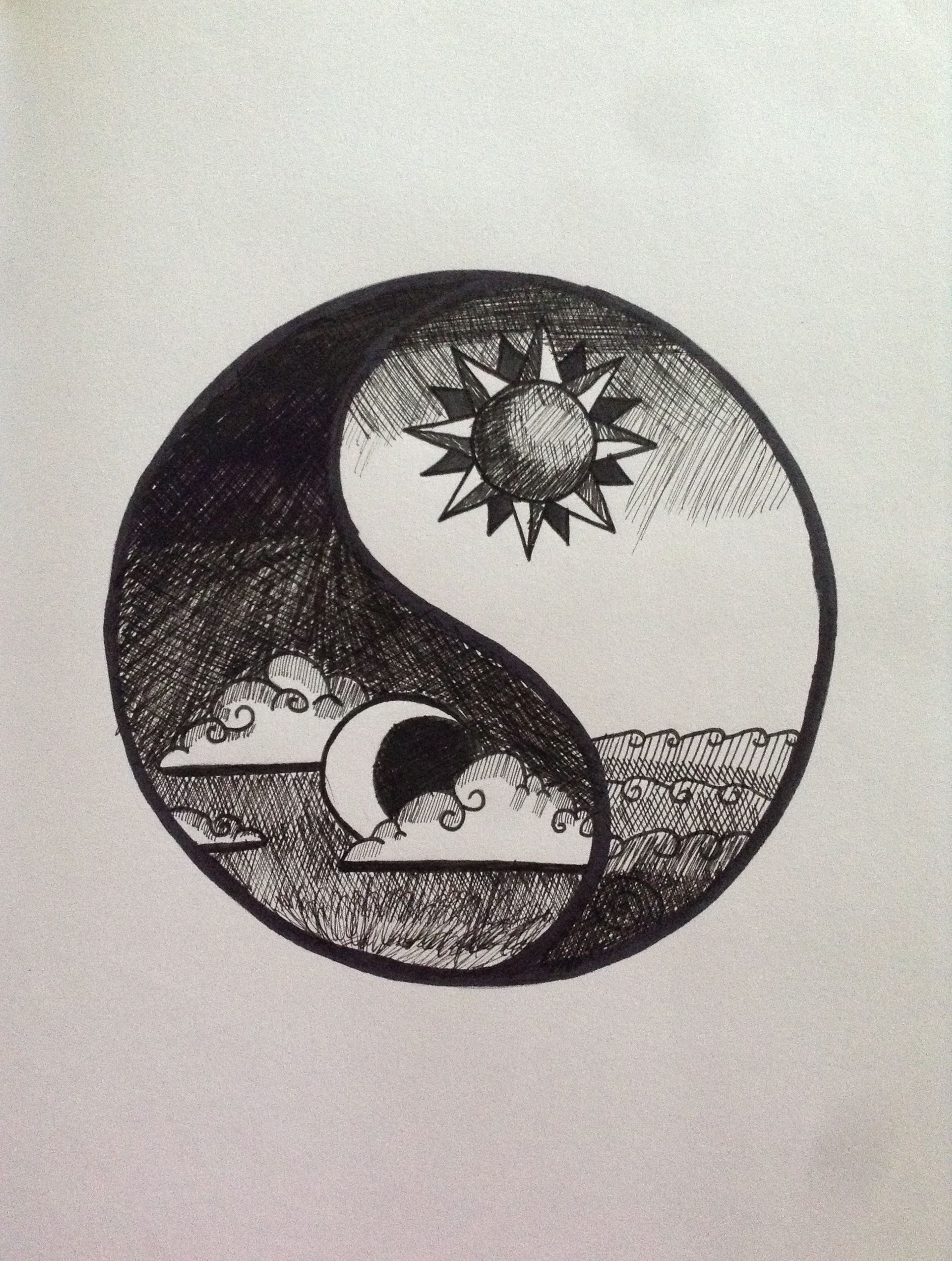 1936x2563 October 2013 Pen Drawing Yin Yang Made From Black Fineliners