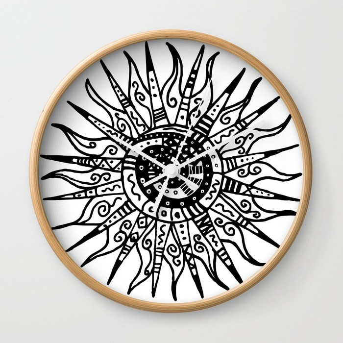 700x700 Sun Doodle Black And White Drawing Wall Clock By Lebensart Society6