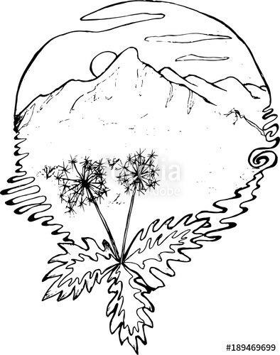 394x500 Black And White Drawing Of Mountains, Sun, Clouds, Dandelions