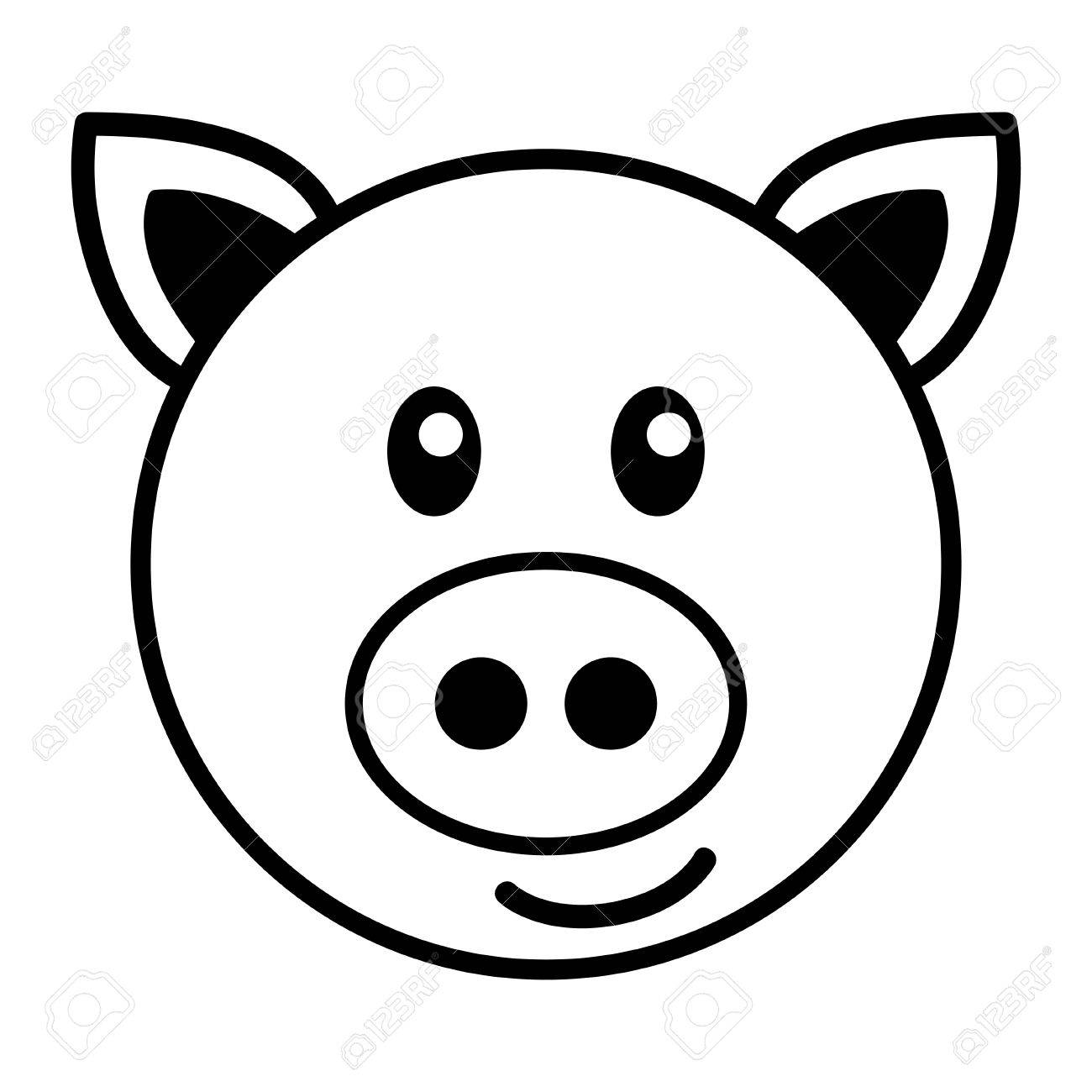 1300x1300 Simple Pig Drawing