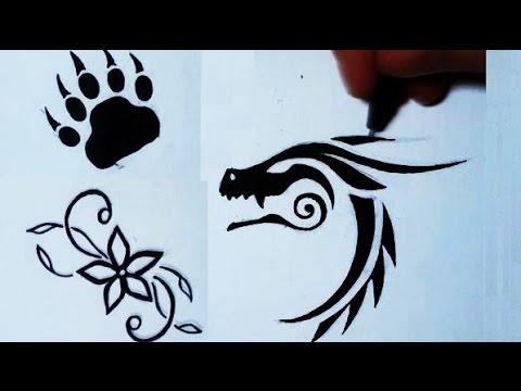 480x360 Drawing 3 Simple Tattoos Flower, Bear Paw, Dragon