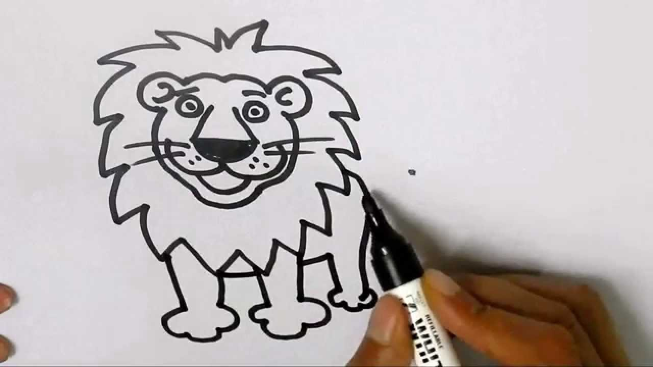 1280x720 How To Draw A Lion In Easy Steps For Children, Kids, Beginners