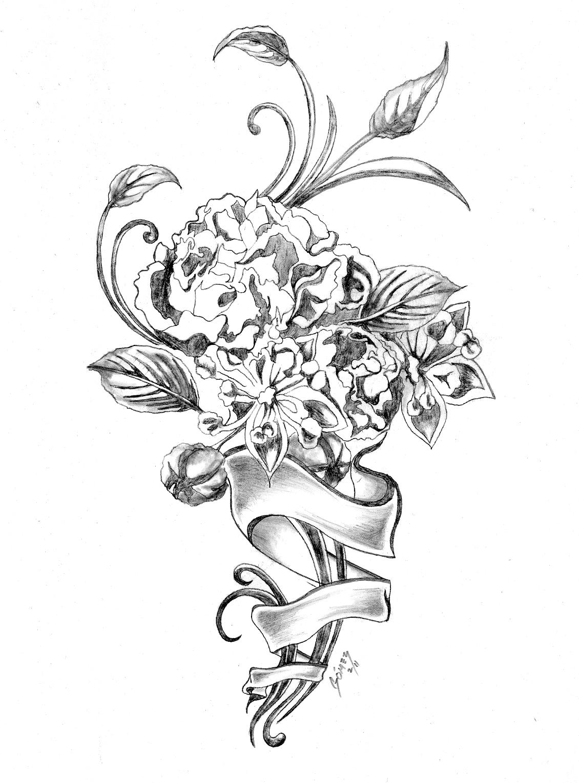 1130x1530 Sketch Of Rose Flower Hydrangea Bouquettattoo