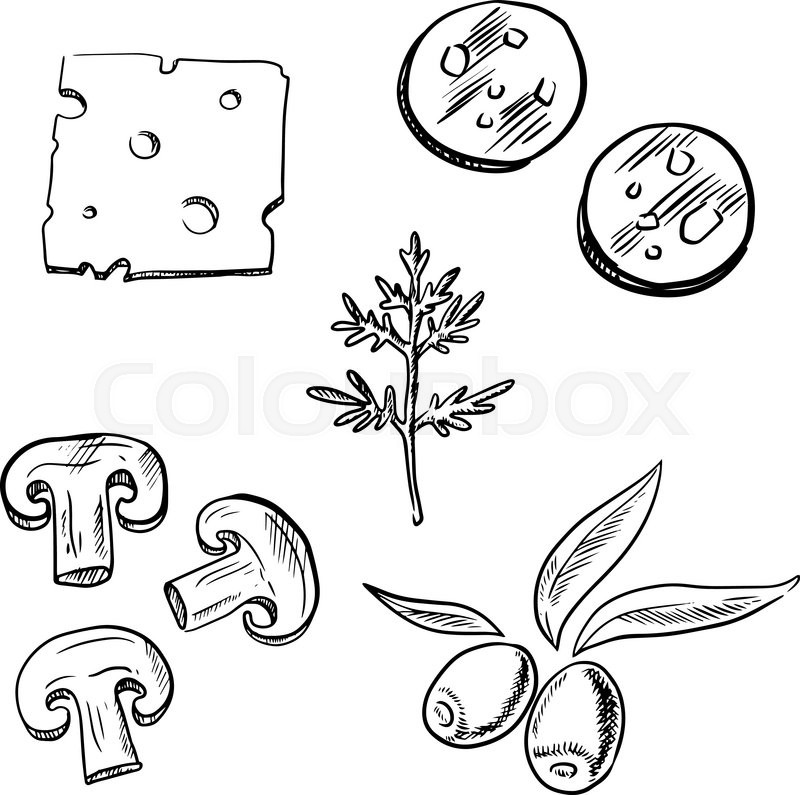 800x795 Italian Pizza Topping Ingredients Sketch Icons With Slices
