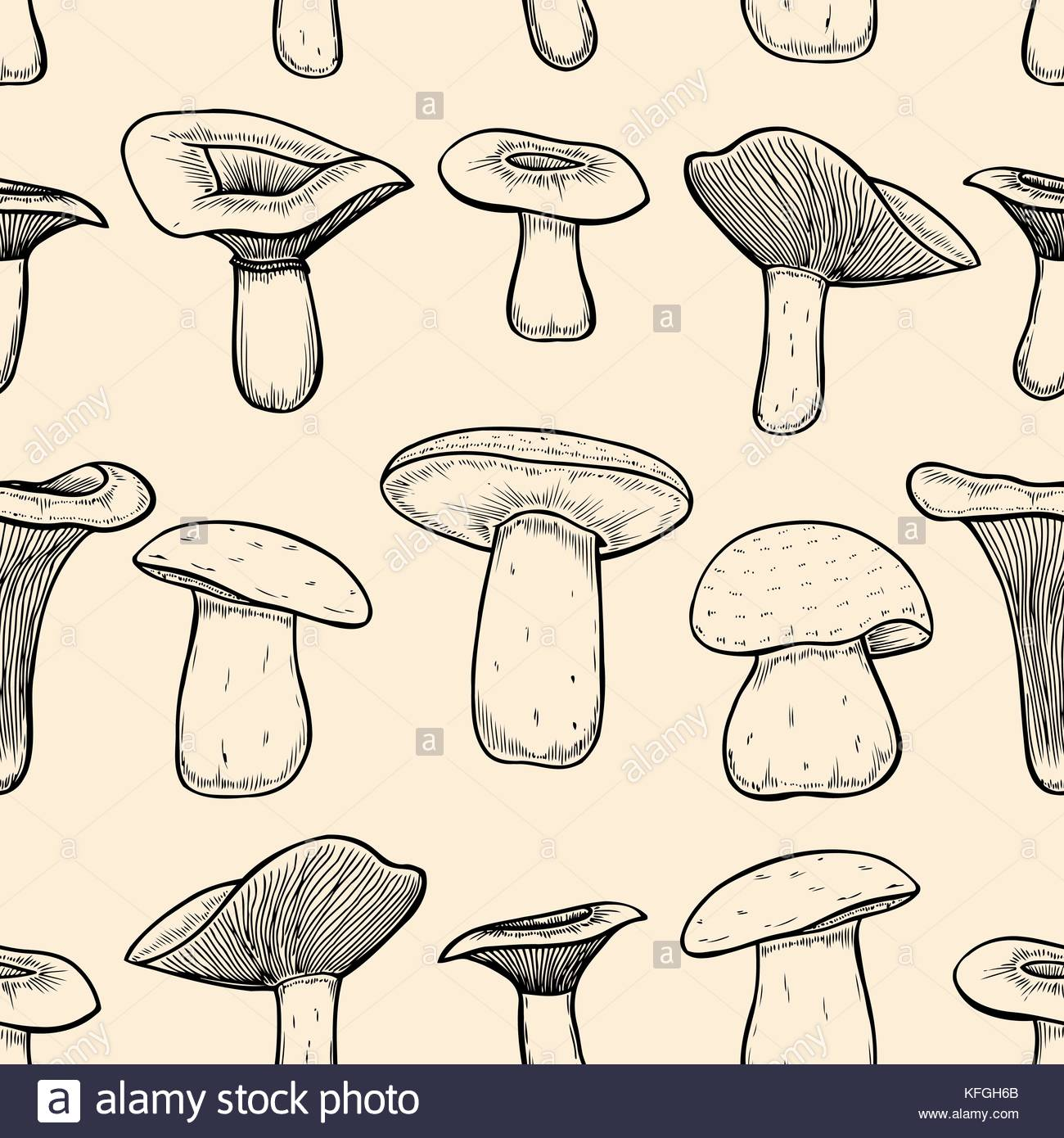 1300x1390 Seamless Pattern With Mushrooms. Hand Drawing Elements Of Nature