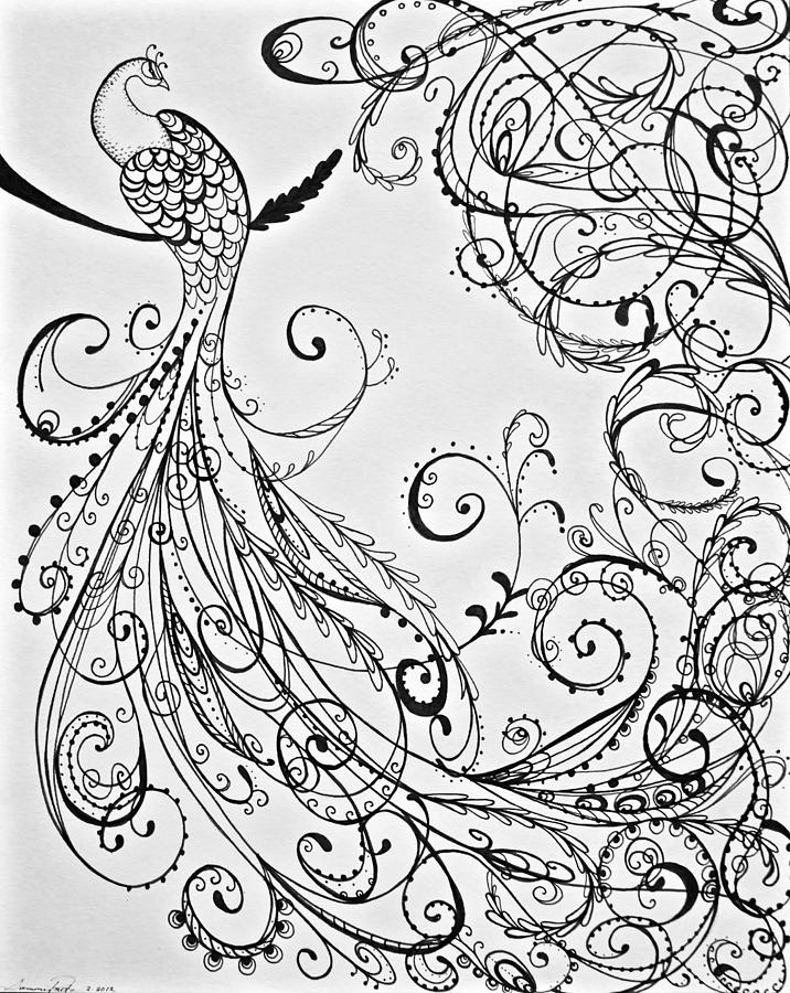 716x900 Paisley Peacock Drawing By Summer Porter