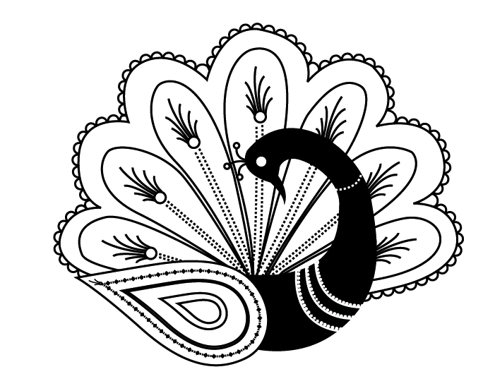 701x547 Shy Black Peacock With Fan Shaped Tail Tattoo Design