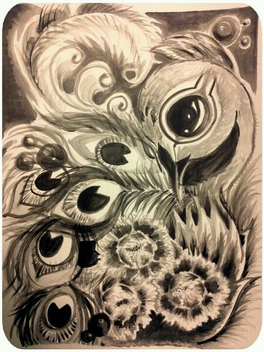 541x721 Black And White Peacock W Chrysanthemums Painted This In Acrylics