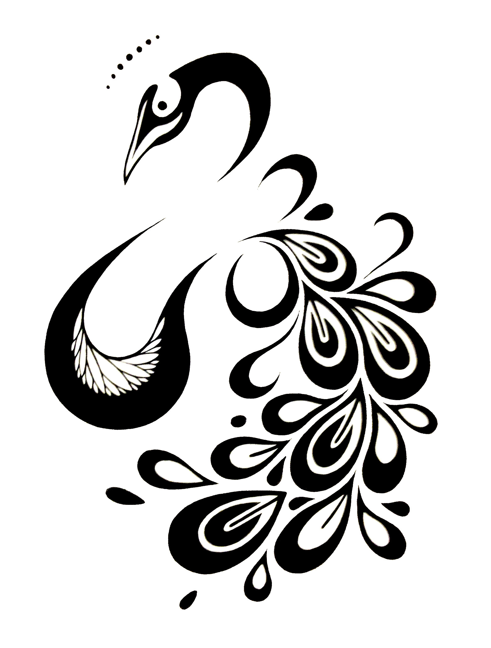 1956x2580 Black And White Peacock Drawing
