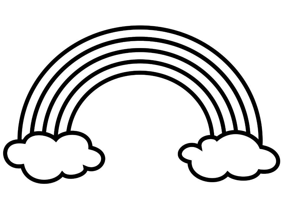 980x768 Rainbow Black And White Coloring Page Charming Inspiration