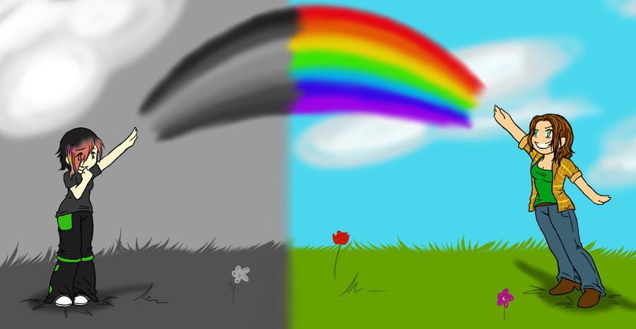 900x466 Black And White Rainbow By Xxsharpest Livesxx