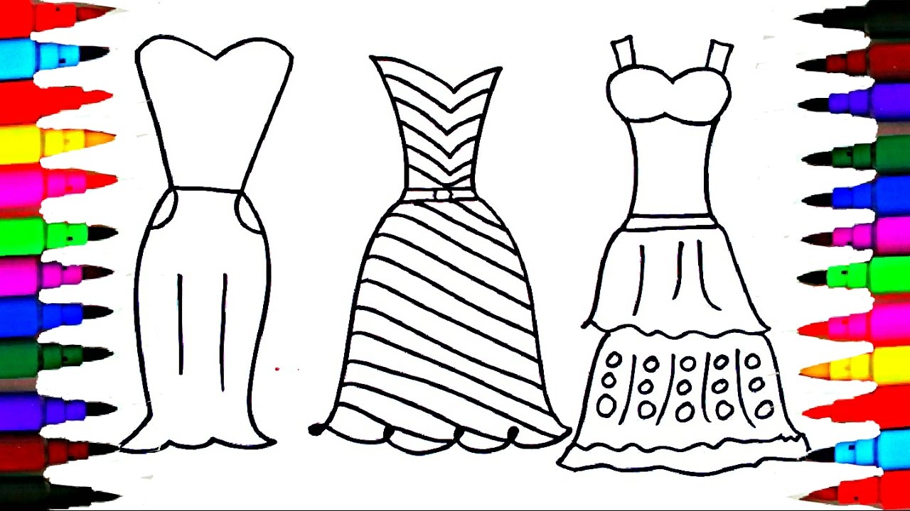 1280x720 Coloring Pages Dresses For Girls L Polkadots Drawing Pages
