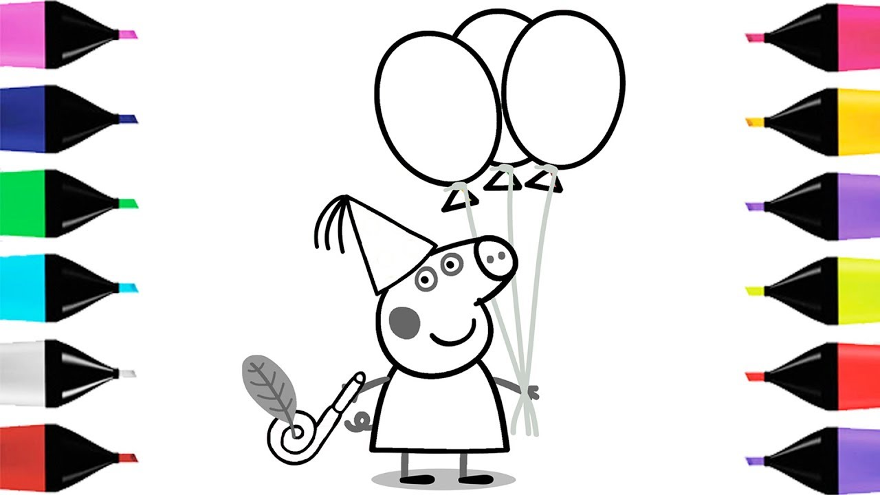 1280x720 How To Draw Peppa Pig And Balloons. Drawings And Coloring Book