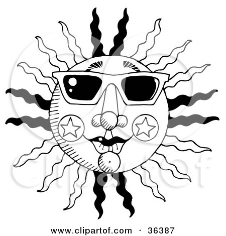 450x470 Clip Art Illustration Of A Black And White Summer Sun With Rays