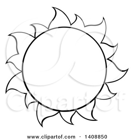 450x470 Clipart Of A Black And White Lineart Summer Time Sun