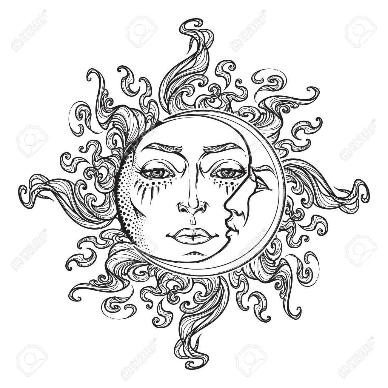 1300x1300 Drawn Sun Black And White