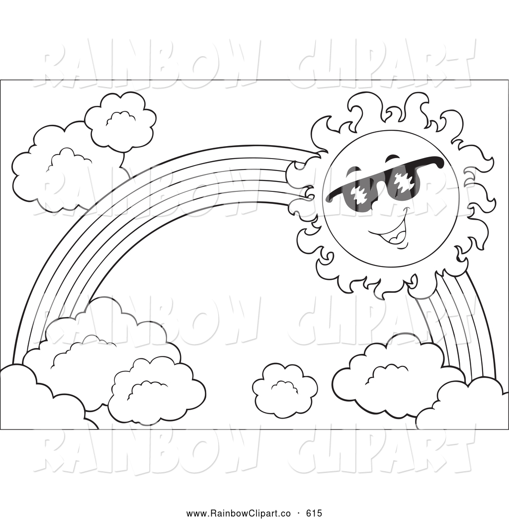 1024x1044 Vector Clip Art Of A Black And White Sun And Rainbow By Visekart