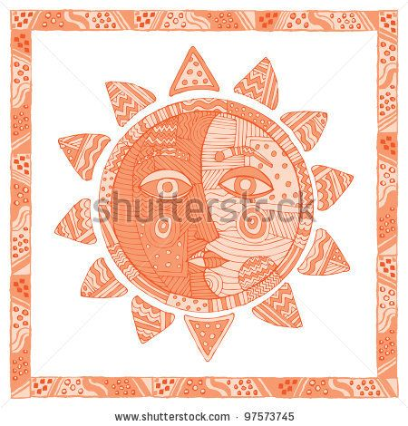 450x470 Original Drawing Of Moon And Sun On White Background. Sun Faces
