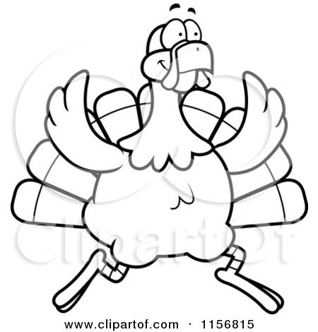 450x470 Cartoon Clipart Of A Black And White Turkey Bird On The Run Vector