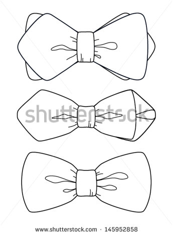 345x470 Drawn Bow Tie Line Drawing