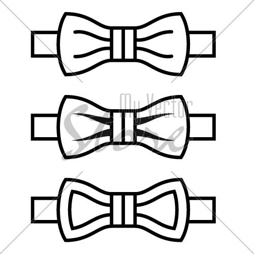 500x500 Vector Bow Tie Black Line Symbols