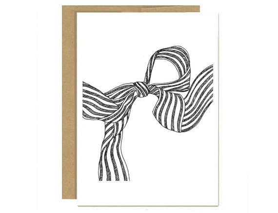 570x438 Black And White Treasury Striped Bow Greeting Cards Set Of 24