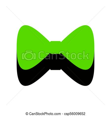 450x470 Bow Tie Icon. Vector. Green 3d Icon With Black Side On White