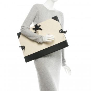350x350 Chanel Caviar Stitched Bowtie Drawing Portfolio Bag White Black 179505