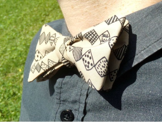 570x428 Cream And Black Bow Tie Ethnic Tribal Summer Boetie Drawing