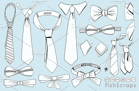 580x380 Drawn Bow Tie Line Drawing